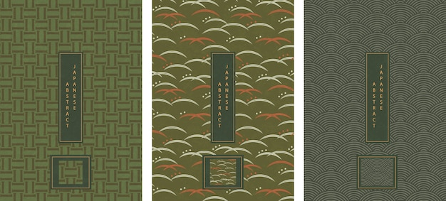 Set of oriental japanese abstract pattern