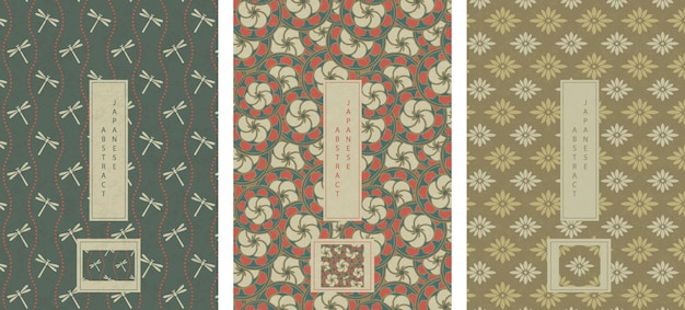 Set of oriental japanese abstract seamless pattern