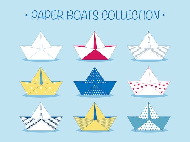 Set of origami paper boats or ships