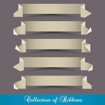 Set of origami paper ribbons-banners