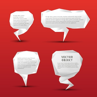Set of origami paper speech bubbles on red