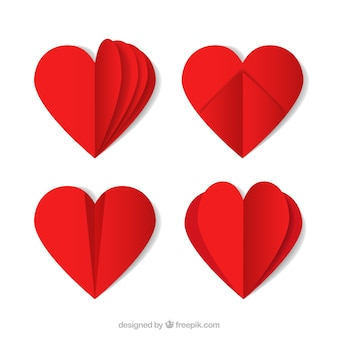Set of origami red hearts