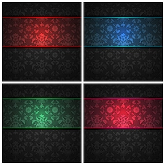 Set ornament  fabric texture  color ribbons