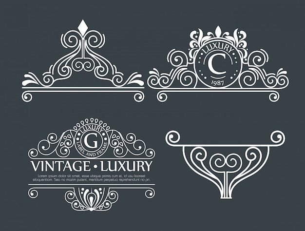 Set of ornamental decoration for frames or labels