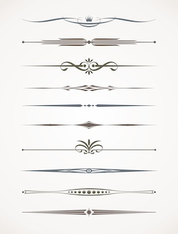 Set of ornamental decorative dividers.   illustration.