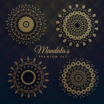 Set of ornamental golden mandalas
