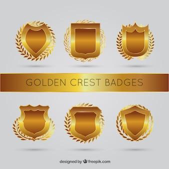 Set of ornamental golden shields with laurel wreath