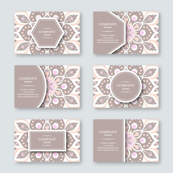 Set of ornamental hand drawn business card with floral mandala