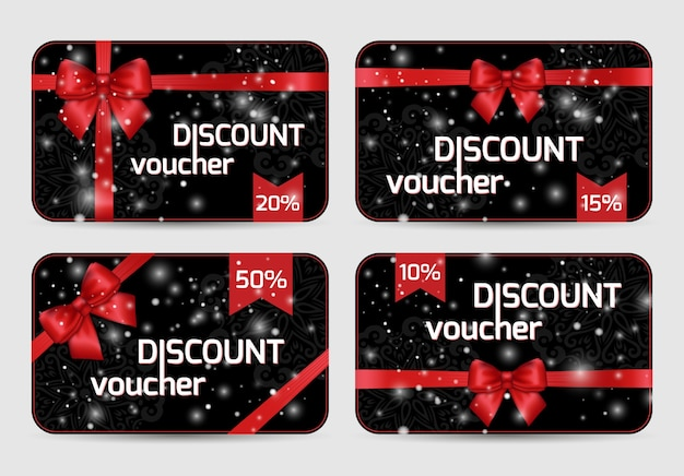 Set of ornamental merry christmas discount voucher cards with shiny holiday red satin ribbon bow on dark black lacy background vector templates