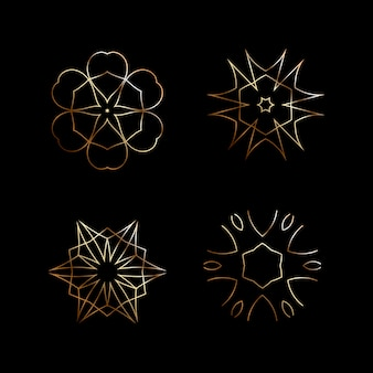 Set of ornamental rosettes. golden element