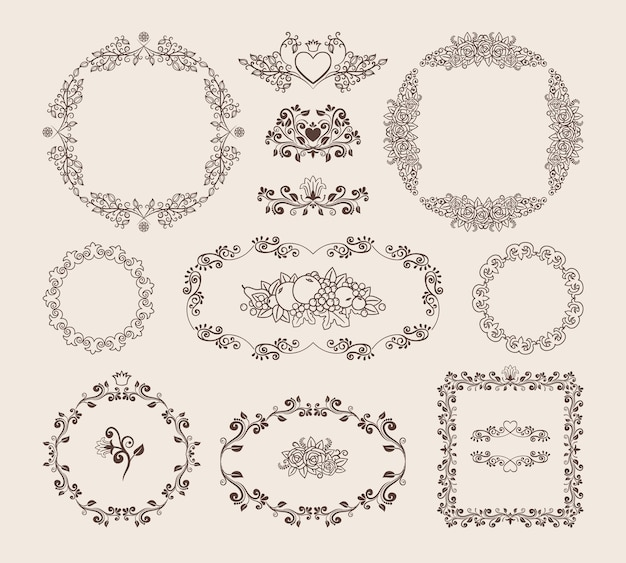 Set of ornamental vector circular  oval and square frames