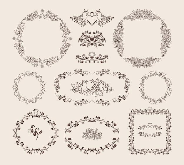Set di cornici circolari ovali e quadrate di vettore ornamentale