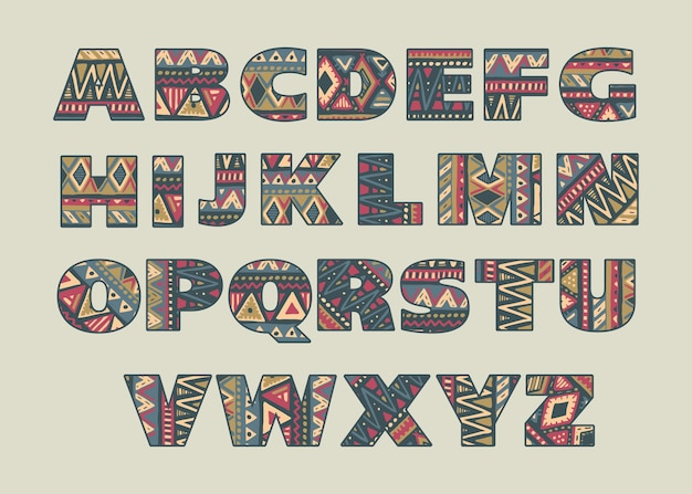 Set of ornate capital letters with abstract ethnic african patterns