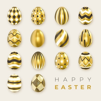 Set of ornate golden realistic black and white eggs on light background.