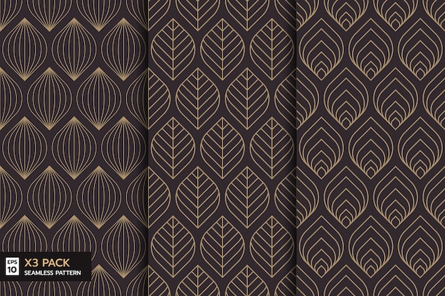 Set of ornate leaves line seamless pattern on brown background
