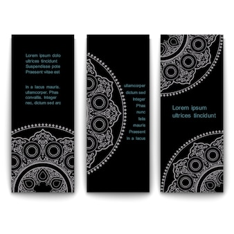 Set of ornate vertical template cards banners in eastern style