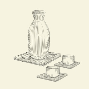 Set os japanese sake and cup isolated. ceramic bottle sake hand drawn sketch.
