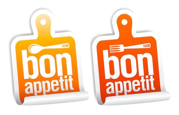 Set os kitchen sticker templates  bon appetit