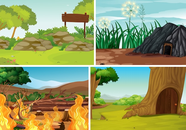 Set of outdoor nature background