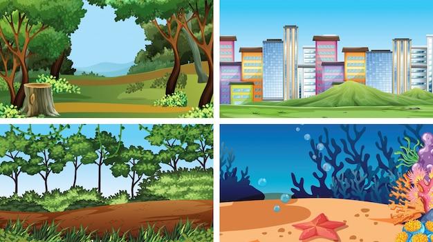 Set of outdoor nature scenes blank empty templates