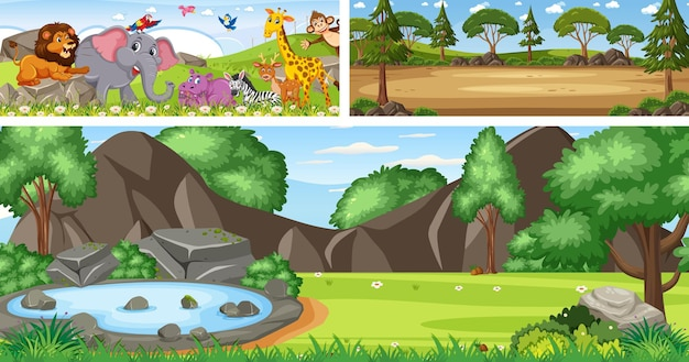 Set of outdoor panoramic landscape with cartoon character