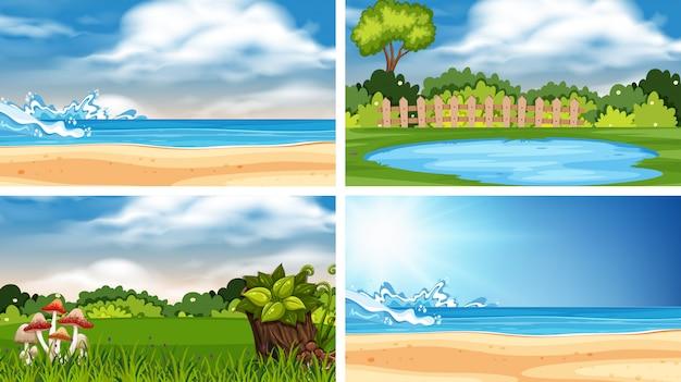 A set of outdoor scene including cloud