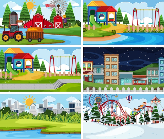 A set of outdoor scene including farm