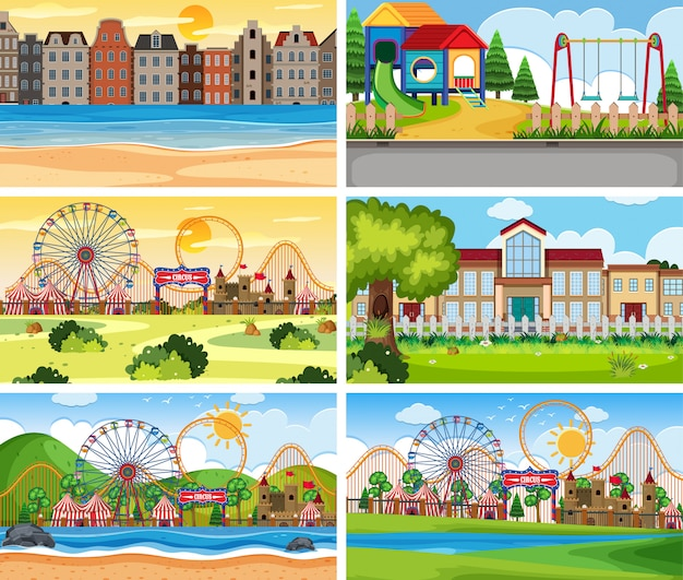 A set of outdoor scene including funfair