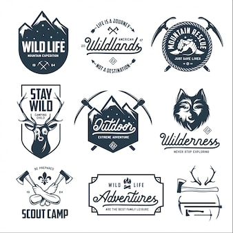 Set of outdoor wild life related labels badges emblems