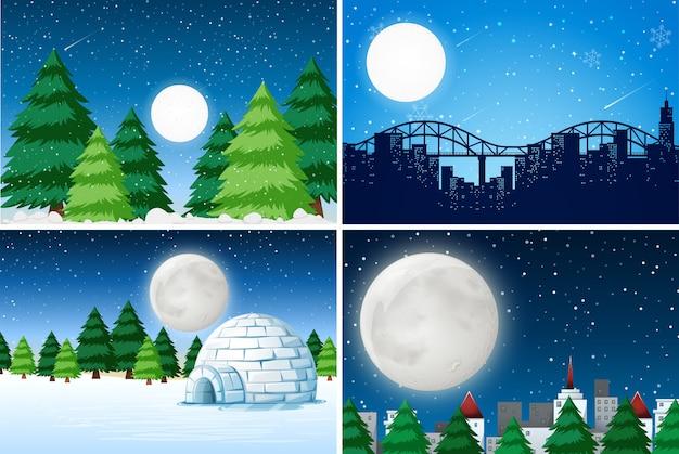 Set of outdoor winter landscape