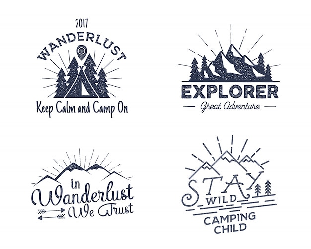 Set of outdoors activity badges.
