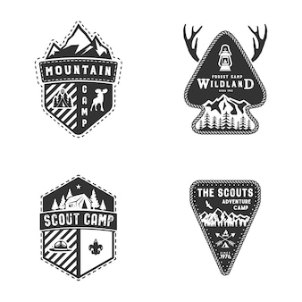 Set of outdoors badges