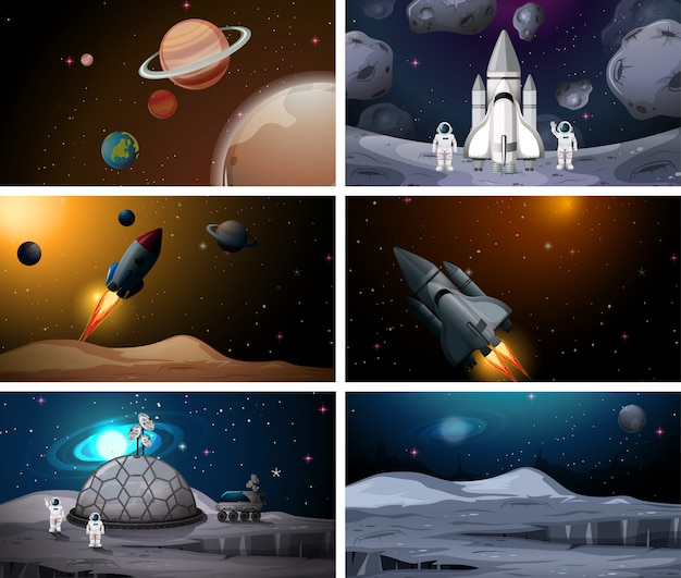 Set of outer space scenes background set