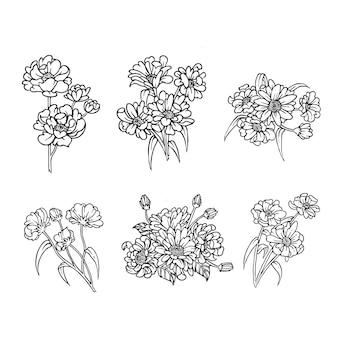 Set outline design of flower bouquet for ornament nature design