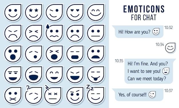 Set of outline emoticons emoji for chat set of emoji