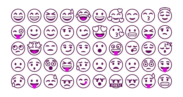 Set of outline emoticons reaction for social media