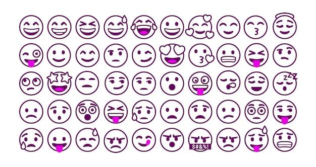 Set of outline emoticons reaction for social media
