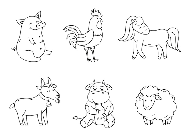 Set of outline farm animals isolated