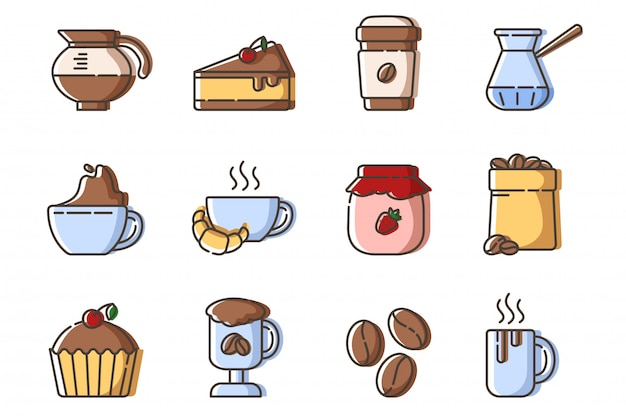 Set of outline filled icons - coffee, coffee brewing equipment, cup or mug with hot drinks and desserts