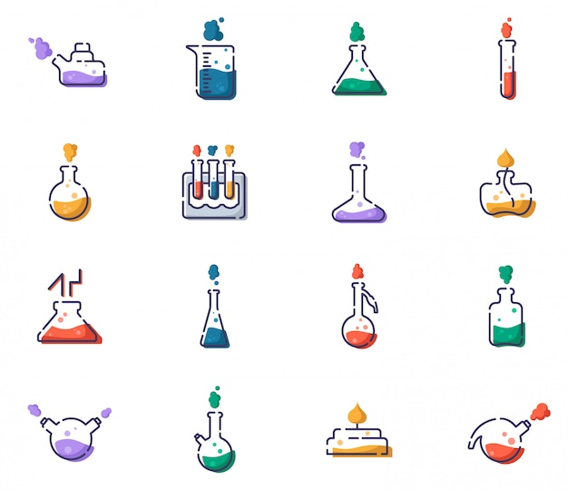 Set of outline filled icons - laboratory flasks, measuring cup and test tubes for diagnosis, analysis, scientific experiment. chemical lab and equipment.