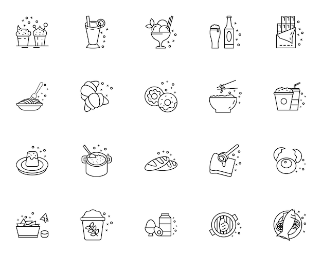 Set of outline food  icons