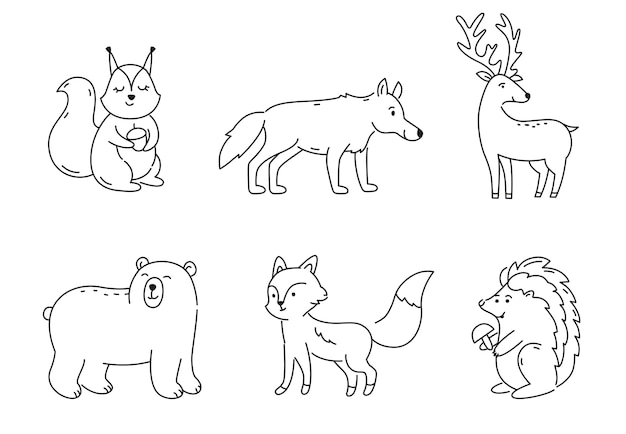 Set of outline forest animals isolated