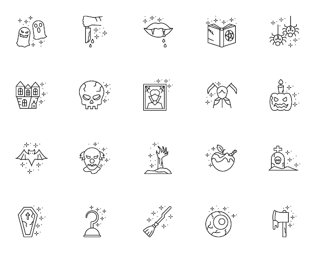 Set of outline halloween icons
