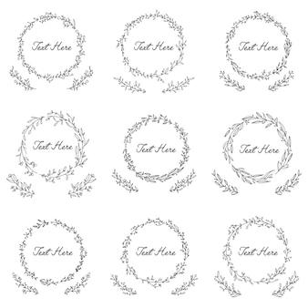 Set of outline hand drawn floral frame