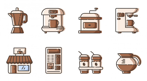 Set of outline icons - coffee making electronic equipment, coffee maker and mashine