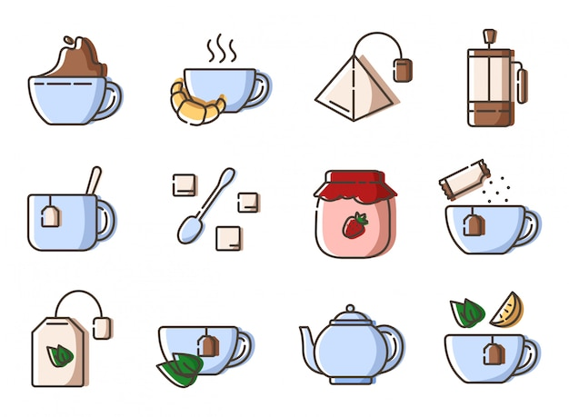Set outline icons with tea party stuff