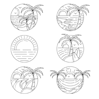 Set of outline island logo template