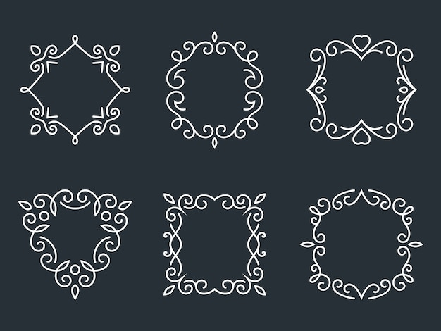 Set of outline monogram frames. artwork and floral, fashion and graceful.