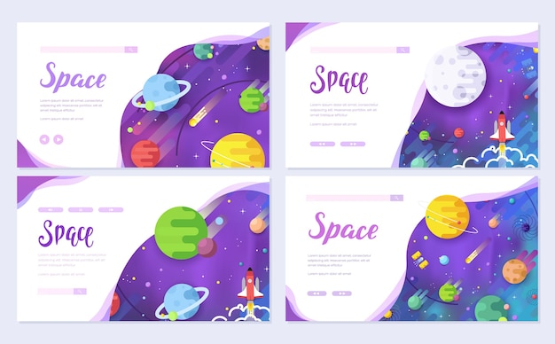 Set of outline outer space rocket cards