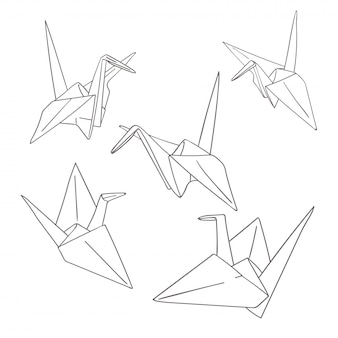 Set of outline paper origami birds isolated on white